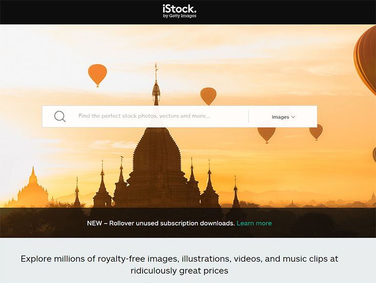 istock photo homepage screenshot